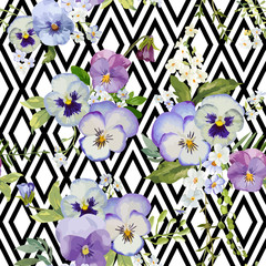 Pansy Flowers Geometric Background - Seamless Floral Shabby Chic
