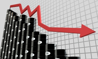 oil barrels and a financial chart on white background.  price oil down.  business concept