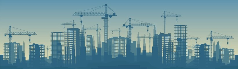 Wide banner illustration of buildings under construction in process Wall mural