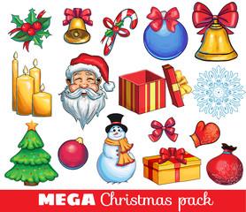 A big kit of christmas hand drawn icons