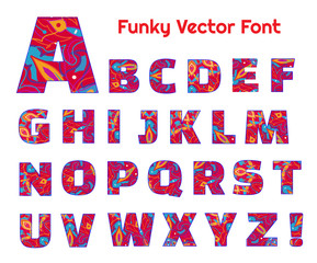 Funky doodle red vector font