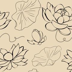 A grunge lotus seamless vector texture