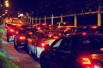 Night traffic jam on a city street