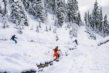 Skier skiing  on sunny day,mt Rainier national park,Washington,USA.
