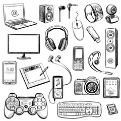 Set of hand drawn GADGET icons