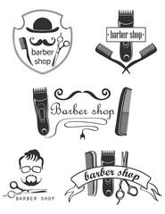 Set of vintage barber shop emblems, label, badges and designed elements