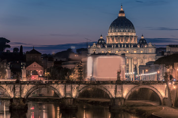 Fototapete - Rome, Italy: St. Peter's Basilica and Saint Angelo Bridge