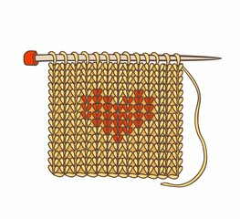 knitted background and needles for knitting. Vector illustration