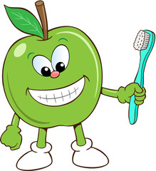 Apple vector cartoon with toothbrush