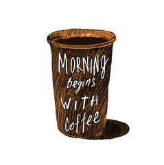 Vintage poster. Morning begins with coffee- unique hand drawn lettering. T-shirt, bag design, poster, greeting card illustration. Vector typography.