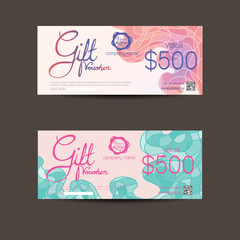 Voucher template with hand drawn decoration