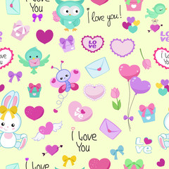 Cute vector seamless pattern with funny cartoon animals and hearts. Endless background.