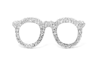brooch glasses with gems isolated on white
