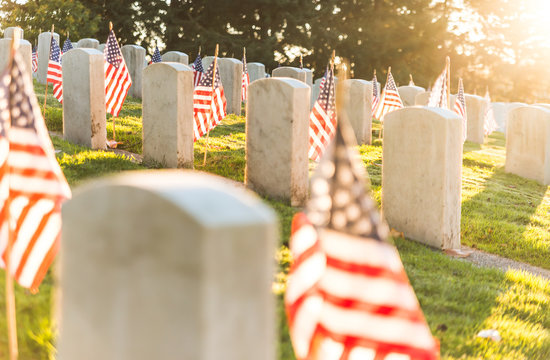frag in the grave yard,National Cemetery with a flag on Memorial day in Washington,Usa.