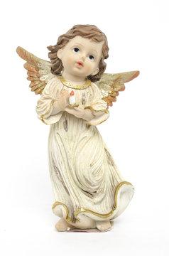Christmas angel figurine isolated on white