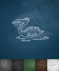 pelican icon. Hand drawn vector illustration