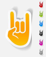 realistic design element. rock hand gesture