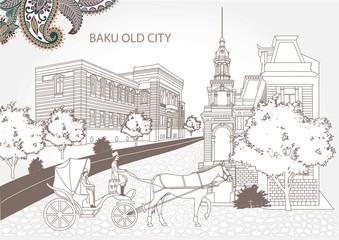 Baku Azerbaijan old city retro with chorce coach