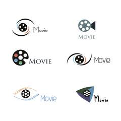movie logo design icon set