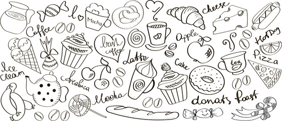 Vector images. Food and drinks kit / set.