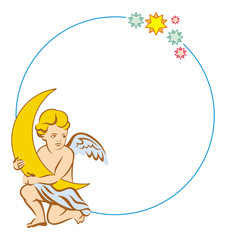 Round frame with little angel with moon
