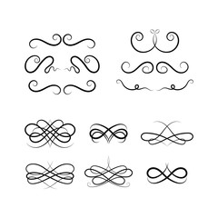 Calligraphic elements on white background. Set of Calligraphic flourishes and Swashes.design loops. Curled Calligraphic flourish, Swash and loops for decoration. Vector Calligraphic design element