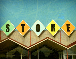 aged and worn vintage photo of retro store sign