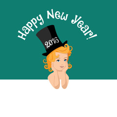Happy New Year 2016 baby in top hat background flat design.