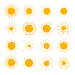 Vector set of different orange sun icons. The sun sets straight