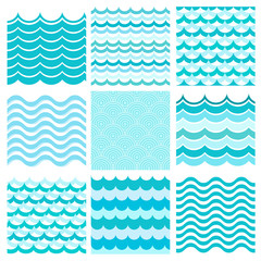 Collection of marine waves. Sea wavy, ocean art water design. Ve