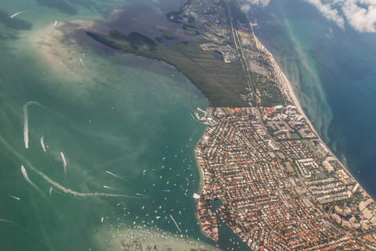 miami beach aerial view with residential zone