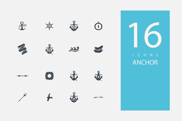 collection of icons in style flat gray color on topic anchor
