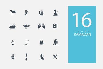 collection of icons in style flat gray color on topic Ramadan icon