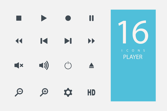 collection of icons in style flat gray color on  topic media player