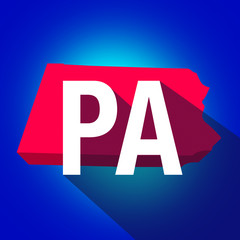Pennsylvania PA Letters Abbreviation Red 3d State Map Long Shado