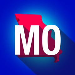 Missouri MO Letters Abbreviation Red 3d State Map Long Shadow