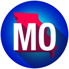 Missouri MO Letters Abbreviation Red 3d State Map Long Shadow Ci