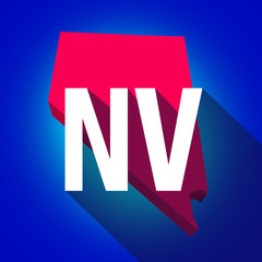 Nevada NV Letters Abbreviation Red 3d State Map Long Shadow