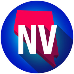 Nevada NV Letters Abbreviation Red 3d State Map Long Shadow Circ