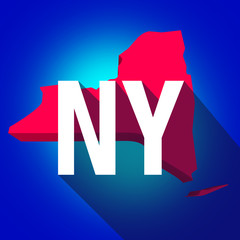 New York NY Letters Abbreviation Red 3d State Map Long Shadow