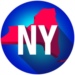 New York NY Letters Abbreviation Red 3d State Map Long Shadow Ci
