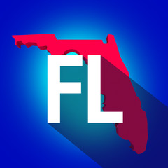 Florida FL Letters Abbreviation Red 3d State Map Long Shadow