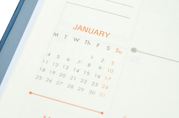 Close up January in diary.