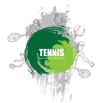 Illustration of tennis. tennis poster