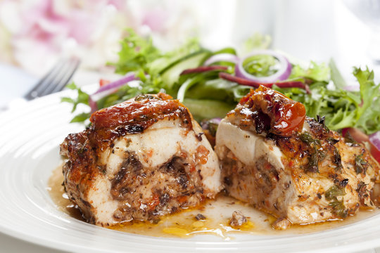 Stuffed Chicken Breast with Salad
