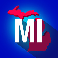 Michigan MI Letters Abbreviation Red 3d State Map Long Shadow Ci
