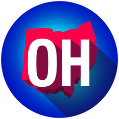 Ohio OH Letters Abbreviation Red 3d State Map Long Shadow Circle