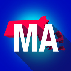 Massachusetts MA Letters Abbreviation Red 3d State Map Long Shad