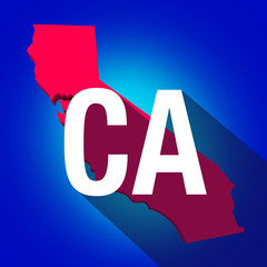 CA California Letters Abbreviation Red 3d State Map Long Shadow