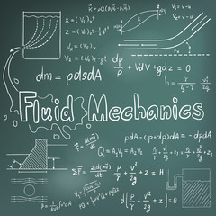 Mechanic of Fluid law physics math formula equation doodle icon in blackboard background with hand drawn model, create by vector